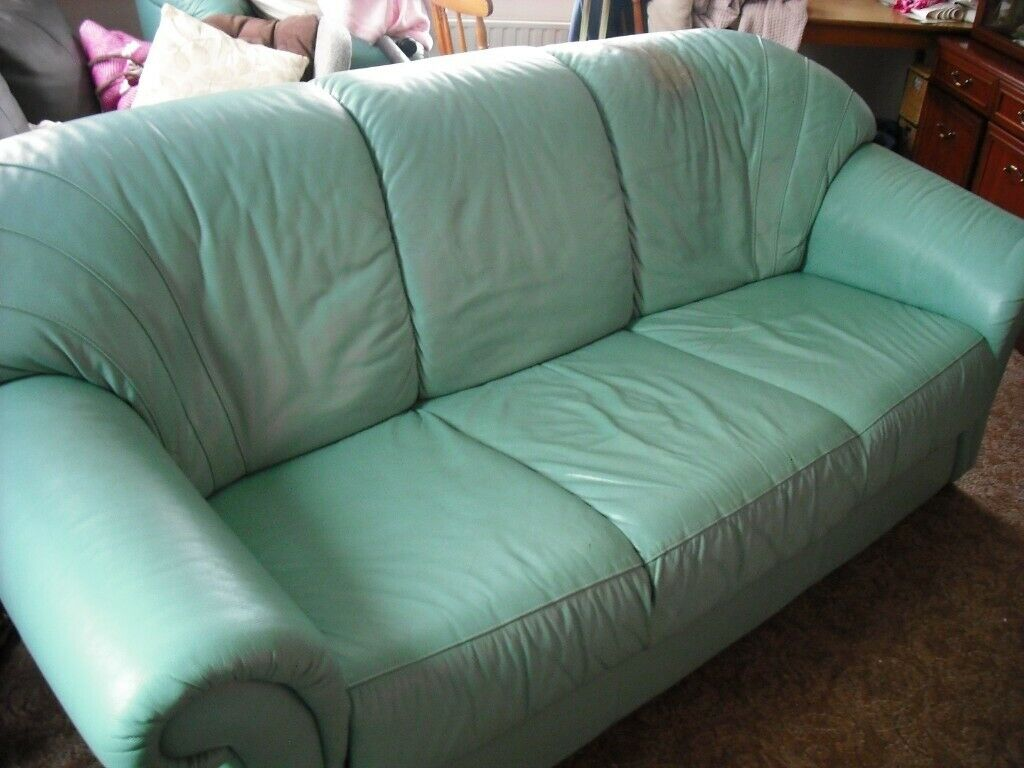 Outstanding 3 Seater Leather Duck Egg Blue Sofa And Armchair Free But Spiritservingveterans Wood Chair Design Ideas Spiritservingveteransorg