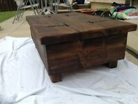Handmade rustic chest coffee table solid. Timber bees wax