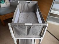 Snuzpod 3 White & Grey Cot w/ Reflux Stand, Two Mattresses, Mattress Protector and Bedding.