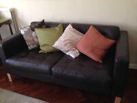 Two seater Charcoal Leather Ikea Sofa