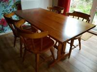 Vintage Pine Dining Table + 4 chairs
