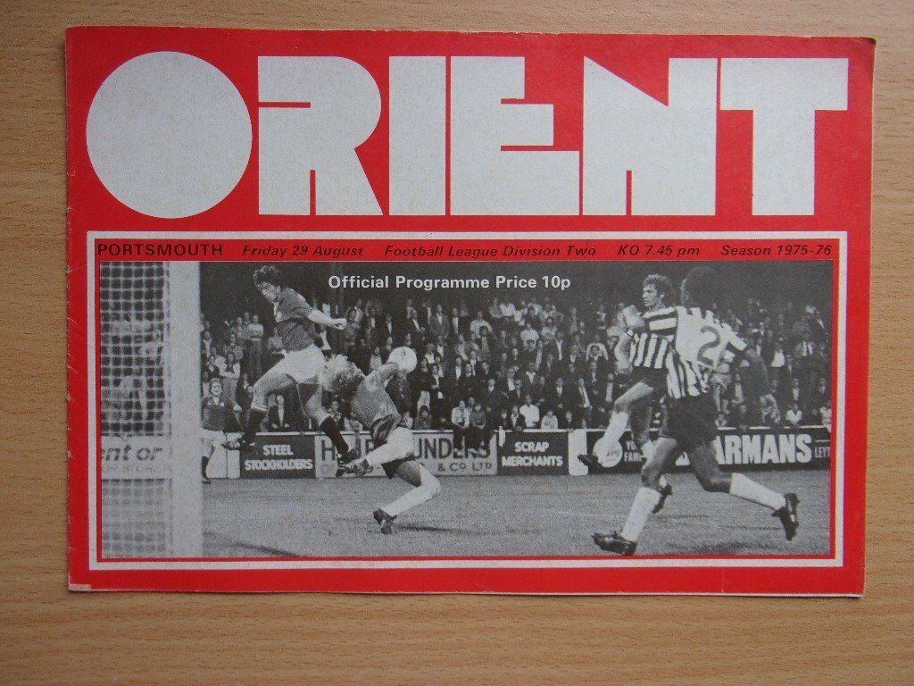 ORIENT VS. PORTSMOUTH. 1975 FOOTBALL PROGRAMME. VERY GOOD CONDITION PROGRAMME.