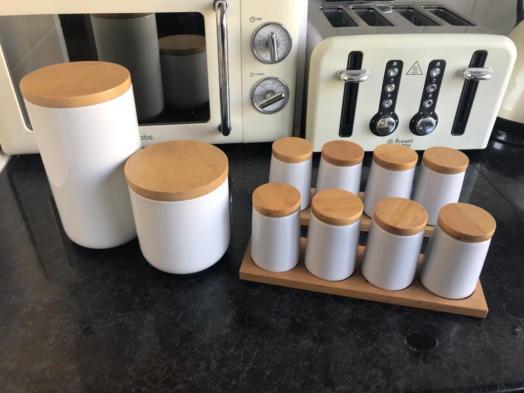 John Lewis Kitchen Storage White Gloss Spice Pots Tea Coffee Containers In Camden Town London Gumtree