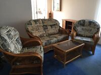 Conservatory Furniture Set, including sofa, two chairs and glass top coffee table.