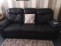 Dark brown 3 seater recliner and electric recliner arm chair