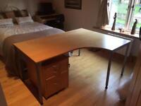 Large corner desk with drawers