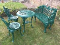 New Cast iron table Bench Chairs Set