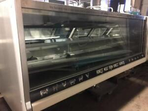 Hussmann SMGV-8 Service Merchandiser with Straight Glass and Gravity Coil for Meat and Deli