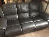 Free brown leather/faux leather 3 seater recliner sofa