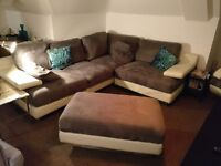 Corner sofa, swivel armchair and ottoman in cream leather & grey suede. Great condition.