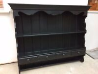 Wall mounted black painted pine kitchen welsh dresser, 4 drawers