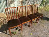 4 x Vintage Mid century Danish G Plan Macintosh influenced dining chairs
