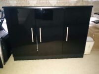 Black Sideboard with 3 doors high gloss with chrome handles