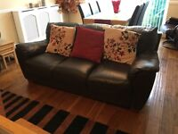 Two 3 seat leather sofas and a 2 seat leather sofa for sale