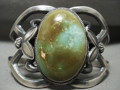 Important Huge Natural Damale Turquoise Harry Morgan Silver Bracelet