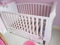 White Sleigh Cot Bed Mattresse