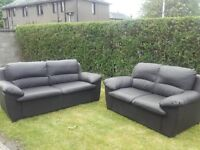 2 and 3 seater leather sofa