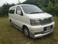 NISSAN ELGRAND 3.1TD AUTO HIGHWAY STAR 4WD HOMY 8 LEATHER SEAT DVD SAT NAV CURTAINS TINTED NEAR MINT