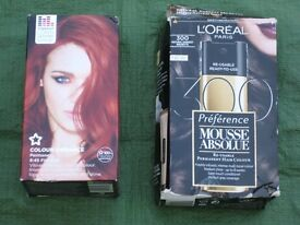 L'Oreal Paris Natural Darkest Brunette and Colour Vibrance Fire Red Permanent Hair Colour:£2.00 each