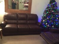 Beautiful 3 piece suite brown leather with bronze pins detail only 18 months old