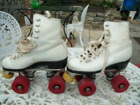 Girls White Boot Roller Skates (Size 12)
