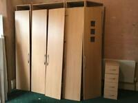 BEDROOM FITTED WARDROBES FURNITURE COMPLETE SET with LIGHTS EXCELLENT CONDITION REDUCED