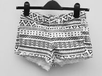 H&M Aztec Printed shorts/hot pants. Size 8. ALL PROCEEDS GO TO CHARITY. Free delivery possible