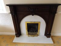 Dark Wood Fire Surround with cream Marble back and hearth