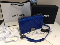 Chanel leboy bag. Genuine leather. Blue patent