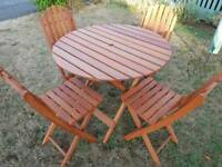 Wooden Garden Patio Table & 4 Chairs