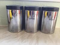 Set of 3 Brabantia stainless steel storage canisters