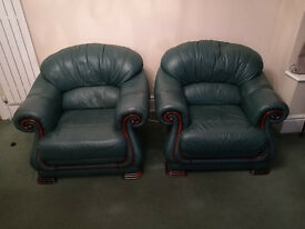 Pair of leather arm-chairs - free