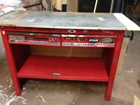 Clarke Workbench, 2 drawers, and 1 Shelf, Metal Top Heavy Solid