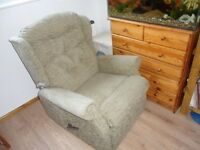 Decomposed armchair H-95cm,W76,D80,D 125-155 cm.Bright green,manual,on wheels,very good condition