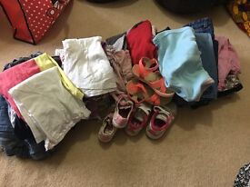 Girls bundle of clothes age 18-36 months and shoes Kids size 7.