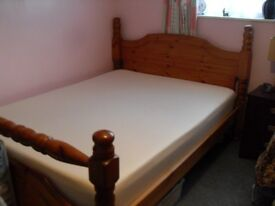 Good Solid Pine Slatted Base Double Bed