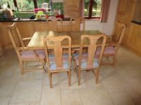 Solid wood dining table and chairs - seats 6