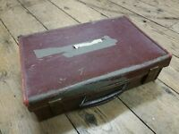 Vintage Brown Leather Small Suitcase Wedding Party Prop Storage Display