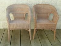 Two Wicker Chairs For Garden or Conservatory