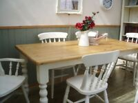Stunning Pine Farmhouse 6ft Table and Chair Set.
