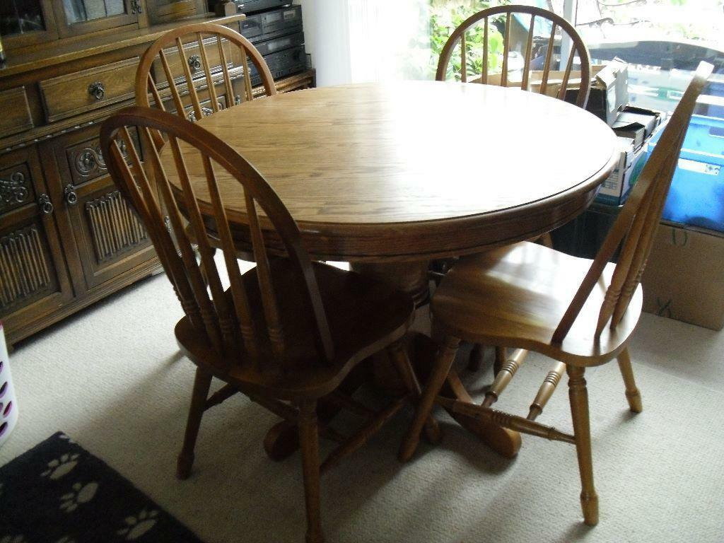 ROUND HARDWOOD TABLE WITH FOUR SPINDLE BACK CHAIRS 42  : 86 from www.gumtree.com size 1024 x 768 jpeg 107kB