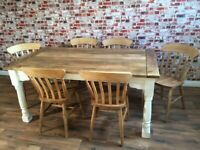Rustic Farmhouse Extending Dining Table Set with Antique Style Chairs 5-8 FT
