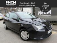 SEAT IBIZA 2012 1.2 S A/C - LOW INSURANCE - LONG MOT - S.H - 2 KEYS - fiesta polo corsa (black) 2012