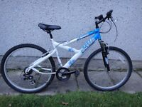 Raleigh manic bike, 26 inch wheels, 18 inch frame, 18 gears with front suspension