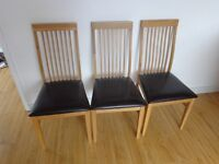 3 chairs with leather seats
