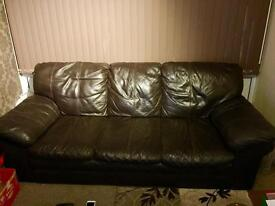 2 & 3 seater chocolate brown leather sofas