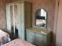 Bedroom furniture set wardrobe chest of drawers bedside drawers mirror