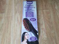 Ceramic heated hair straightening brush