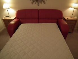 Sofa Bed Red,Double bed size, to include mattress topper prime condition. Used three times.