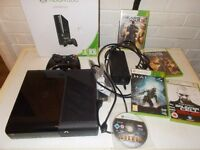 xbox 360 black 250gb boxed with 5 games